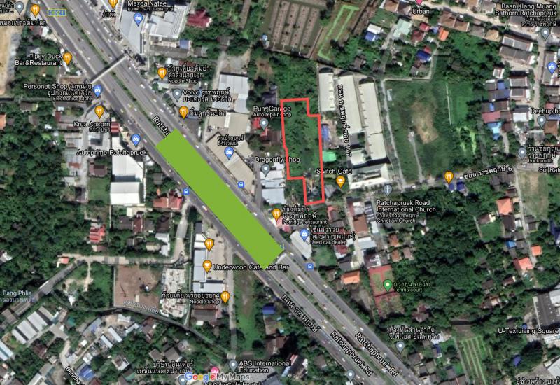 ขายที่ดิน 3-0-68.8 ไร่ ติดซอยราชพฤกษ์ 6 ห่างถนนราชพฤกษ์ 50 เมตร
